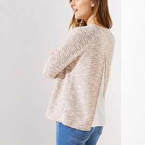 NWT LOFT Women's Boucle Split Back Mixed Media Top